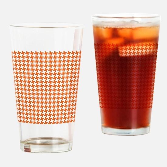 Retro Houndstooth Vintage  Orange Drinking Glass