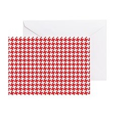 Retro Houndstooth Vintage Red Greeting Card