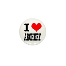 I Heart (Love) Archery Mini Button (10 pack)