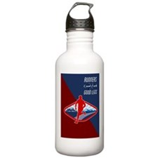 Cross Country Runner Retro Poster Water Bottle