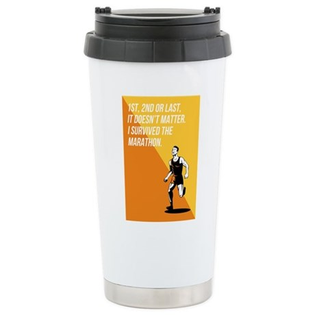 I Survived Marathon Runner Retro Poster Travel Mug