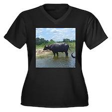 water buffalo Women's Plus Size V-Neck Dark T-Shir