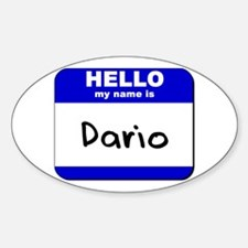 hello my name is dario Oval Decal