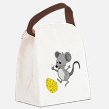 Mouse Jumping for Joy with Cheese Canvas Lunch Bag
