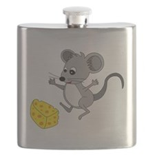 Mouse Jumping for Joy with Cheese Chunk Flask
