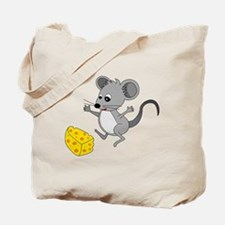 Mouse Jumping for Joy with Cheese Chunk Tote Bag