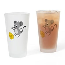 Mouse Jumping for Joy with Cheese C Drinking Glass