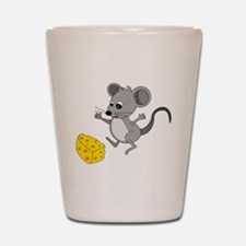 Mouse Jumping for Joy with Cheese Chunk Shot Glass