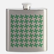 Retro Houndstooth  Vintage Green Flask