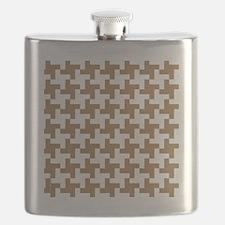 Retro Houndstooth  Vintage  Khaki Flask