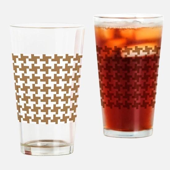 Retro Houndstooth  Vintage  Khaki Drinking Glass