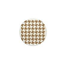 Retro Houndstooth  Vintage  Khaki Mini Button