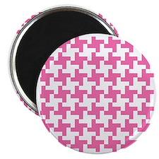 Retro Houndstooth  Vintage Pink Magnet