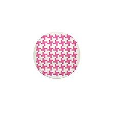 Retro Houndstooth  Vintage Pink Mini Button