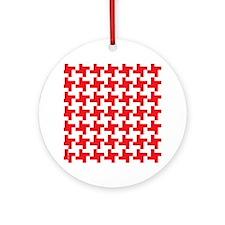 Retro Houndstooth  Vintage Red Round Ornament