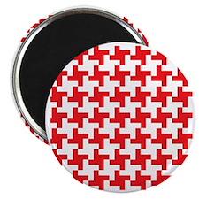 Retro Houndstooth  Vintage Red Magnet