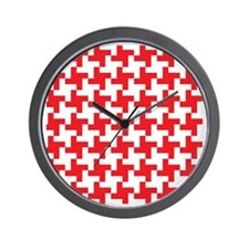 Retro Houndstooth  Vintage Red Wall Clock
