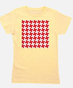 Retro Houndstooth  Vintage Red Girl's Tee