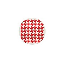 Retro Houndstooth  Vintage Red Mini Button