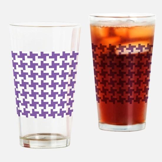 Retro Houndstooth  Vintage Purple Drinking Glass