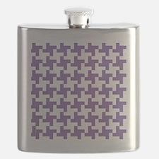 Retro Houndstooth  Vintage Purple Flask