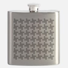 Retro Houndstooth  Vintage Grey Flask