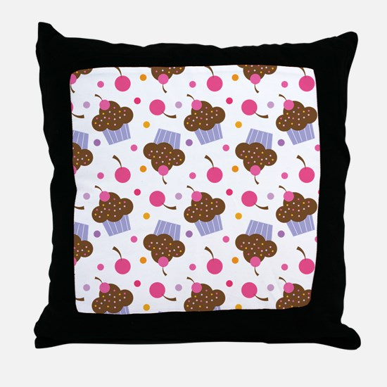 Cute Cupcake Chocolate Throw Pillow