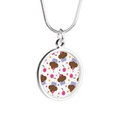 Cute Cupcake Chocolate Silver Round Necklace
