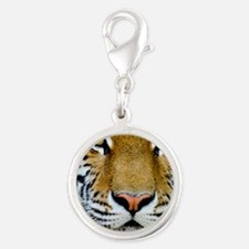 Tiger Silver Round Charm