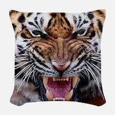Big Cat Tiger Roar Woven Throw Pillow