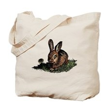 Colored Etching of Rabbit in the Grass Tote Bag