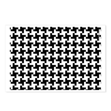 Retro Houndstooth White Postcards (Package of 8)