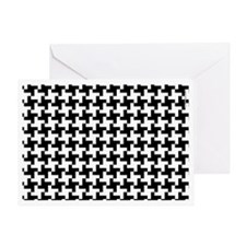 Retro Houndstooth White Greeting Card