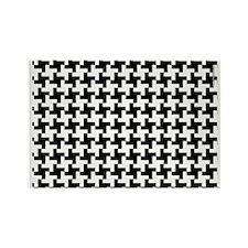 Retro Houndstooth White Rectangle Magnet
