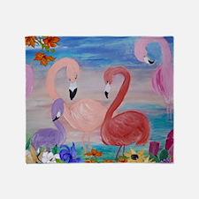 Flamingo Garden Throw Blanket