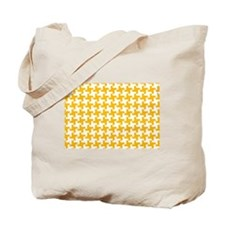 Retro Houndstooth Vintage Yellow Tote Bag