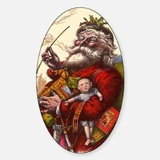 Vintage Christmas Santa Claus Sticker (Oval)
