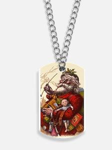 Vintage Christmas Santa Claus Dog Tags