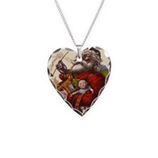 Vintage Christmas Santa Claus Necklace Heart Charm
