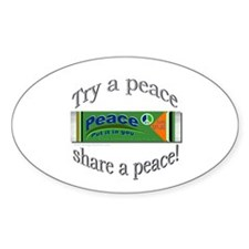 Peace, put it in you! Oval Decal