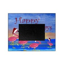 Santa Flamingos Holiday Beach Picture Frame