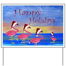 Santa Flamingos Holiday Beach Yard Sign