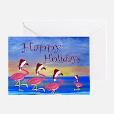 Santa Flamingos Holiday Beach Greeting Card