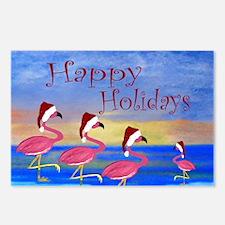 Santa Flamingos Holiday B Postcards (Package of 8)