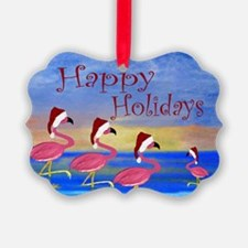 Santa Flamingos Holiday Beach Ornament
