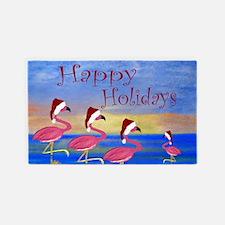 Santa Flamingos Holiday Beach 3'x5' Area Rug