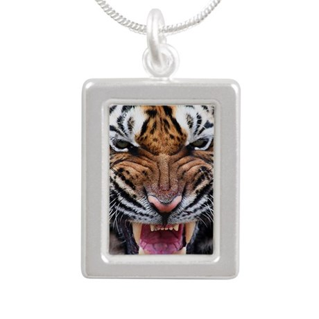 Tiger Mad Silver Portrait Necklace