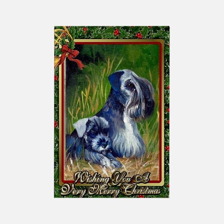 Cesky Terrier Dog Christmas Rectangle Magnet