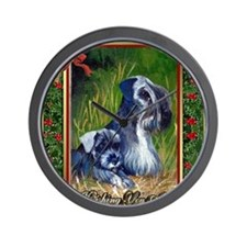 Cesky Terrier Dog Christmas Wall Clock