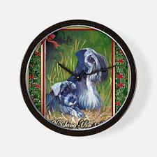 Cesky Terrier Dog Christmas Wall Clock